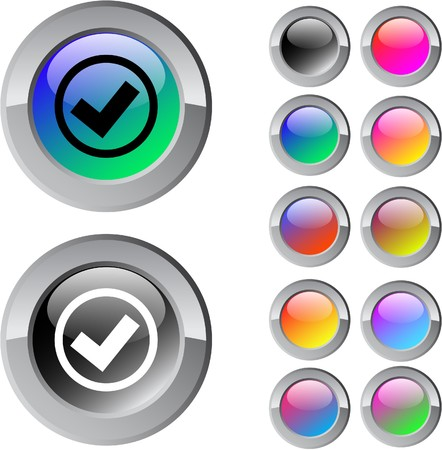 Mark multicolor glossy round web buttons.  Vector