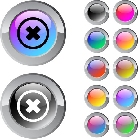 abort: Delete cross multicolor glossy round web buttons.  Illustration