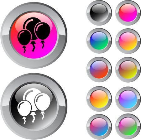 Balloons multicolor glossy round web buttons. Stock Vector - 7261692