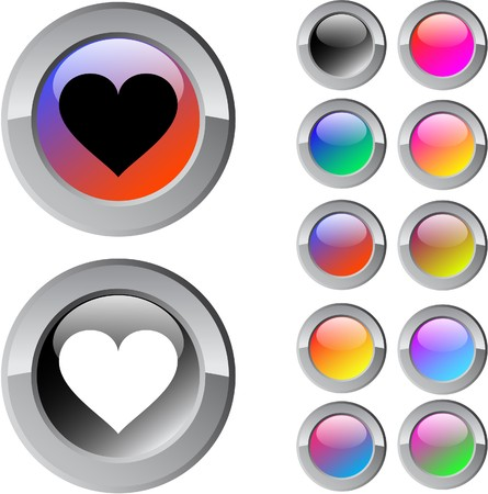 Heart multicolor glossy round web buttons.  Vector