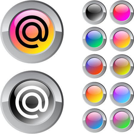 At multicolor glossy round web buttons.  Vector