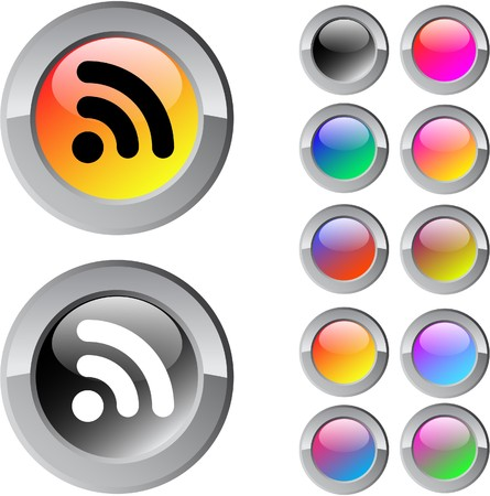 Rss multicolor glossy round web buttons.   Vector