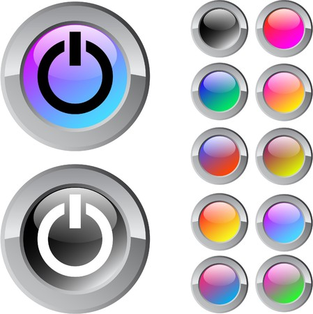 Power multicolor glossy round web buttons.  Stock Vector - 7261690