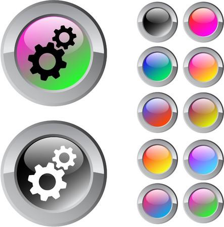settings: Multicolor glossy tools ronde knoppen voor het web.