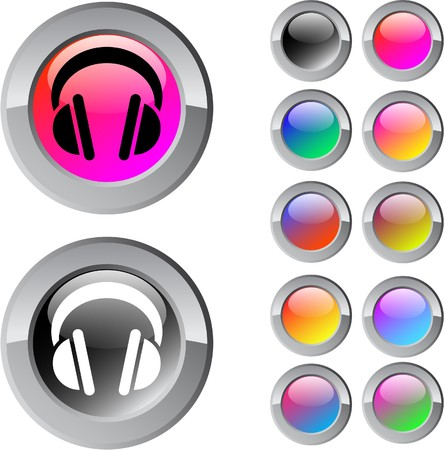 red sound: Headphones multicolor glossy round web buttons.  Illustration