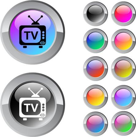 Botones de web de ronda brillante multicolor de TV.  Ilustración de vector