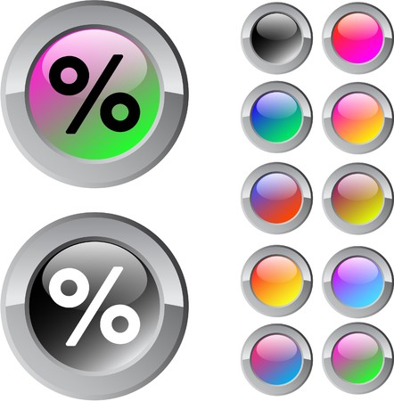 Percent multicolor glossy round web buttons.   Vector