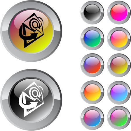 E-mail multicolor glossy round web buttons.  Vector