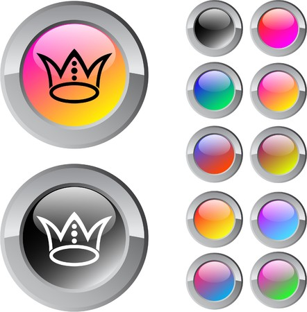 Crown multicolor glossy round web buttons.  Vector
