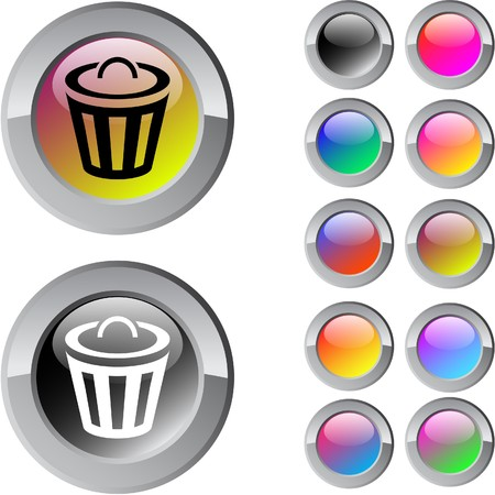 Dustbin multicolor glossy round web buttons. Stock Vector - 7273143