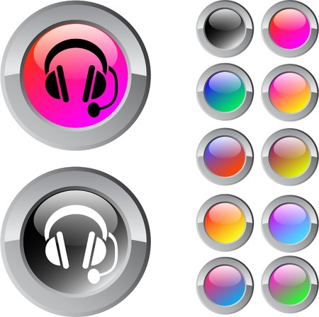 callcenter: Call center multicolor glossy round web buttons.