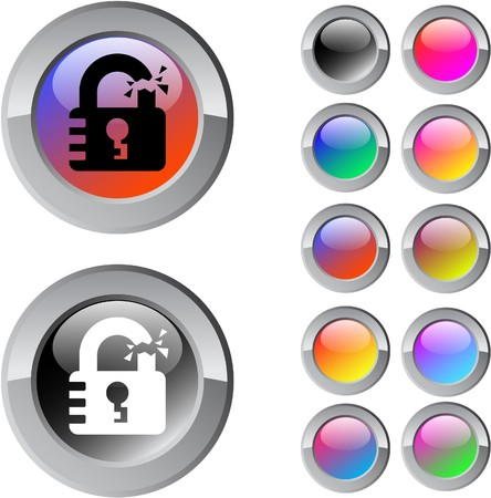 Unlock multicolor glossy round web buttons.    Vector