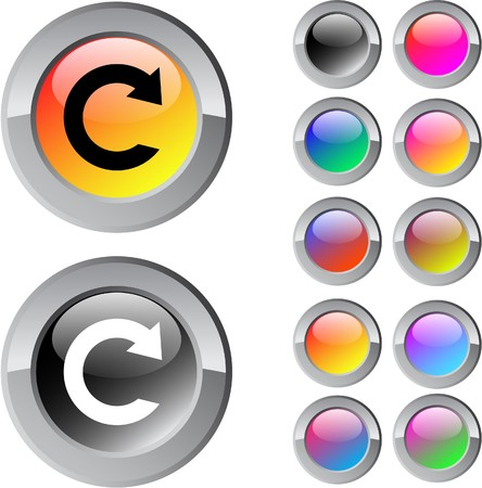 Reload multicolor glossy round web buttons.  Vector