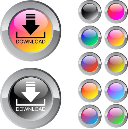 Download multicolor glossy round web buttons.  Vector