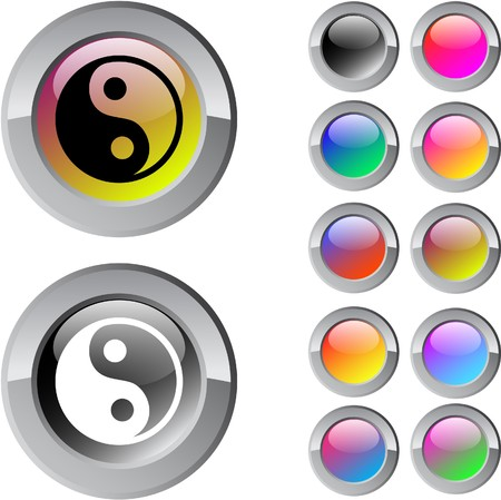 Ying yang multicolor glossy round web buttons.  Vector