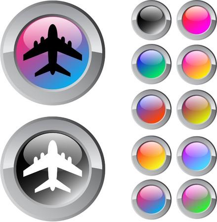 Avion multicolore brillant arrondir les boutons web.  Illustration