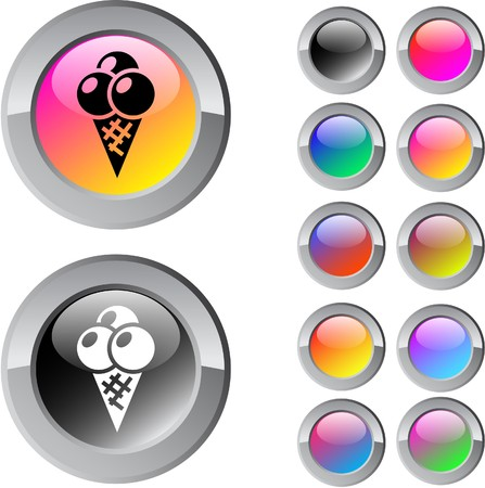 Icecream multicolor glossy round web buttons.  Vector