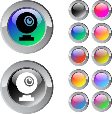 Webcam multicolor glossy round web buttons.  Vector