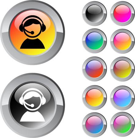 Botones de web de ronda brillante multicolor de operador.  Ilustración de vector