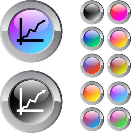 Positive trend multicolor glossy round web buttons.  Vector