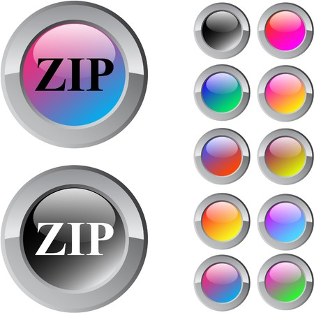 ZIP multicolor glossy round web buttons.  Vector