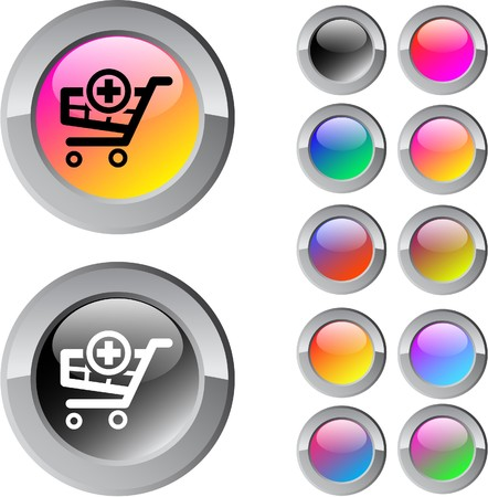 Add to cart multicolor glossy round web buttons. Stock Vector - 7292103