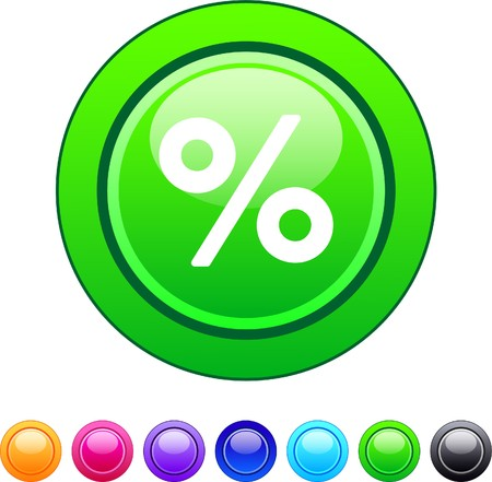 Percent glossy circle web buttons.   Vector