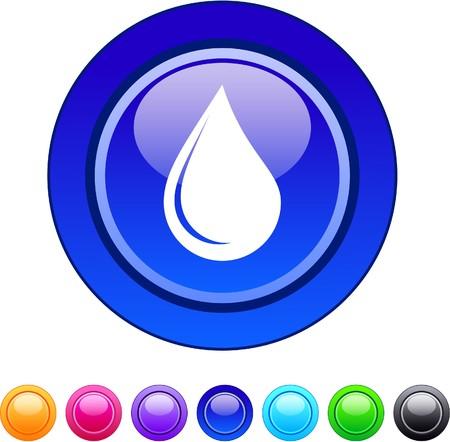 orange water: Drop glossy circle web buttons.   Illustration