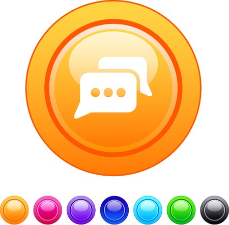 Chat glossy circle web buttons.   Vector