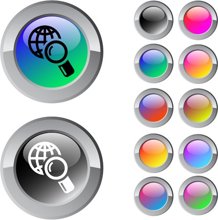 Global search multicolor glossy round web buttons.  Vector