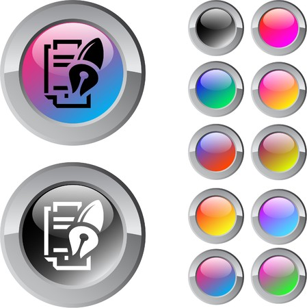 Form and pen multicolor glossy round web buttons.  Vector