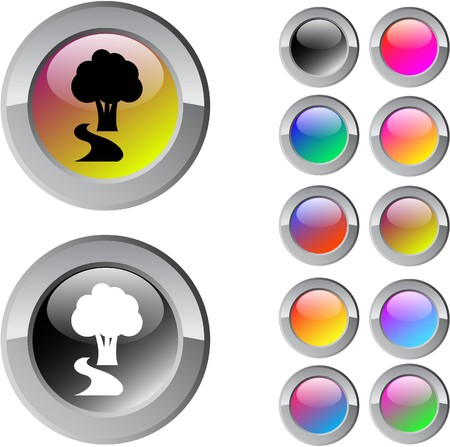 Tree multicolor glossy round web buttons.  Vector