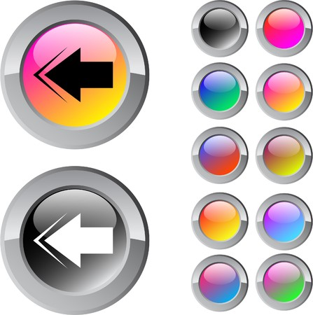 Back arrow multicolor glossy round web buttons. Stock Vector - 7292114