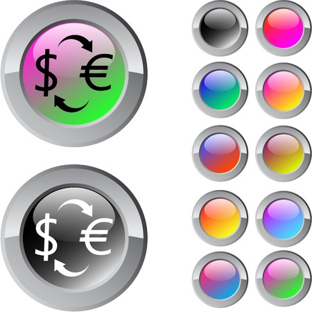 Money exchange multicolor glossy round web buttons.   Vector