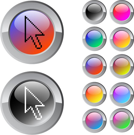 Pixel arrow multicolor glossy round web buttons. Stock Vector - 7292117