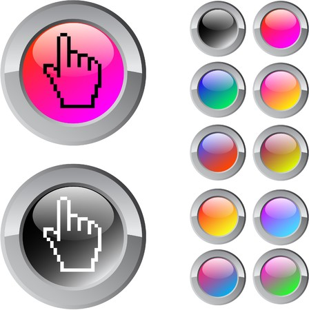 Pixel hand multicolor glossy round web buttons.  Stock Vector - 7292118