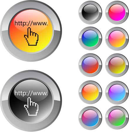 Www click multicolor glossy round web buttons.  Stock Vector - 7292122