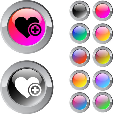 Add to vavorite multicolor glossy round web buttons.  Vector