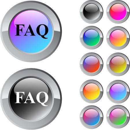 FAQ multicolor glossy round web buttons. Stock Vector - 7292116
