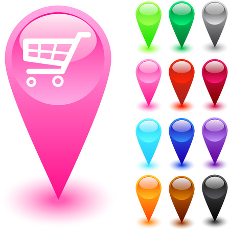 Shopping cart glossy web buttons.   Vector