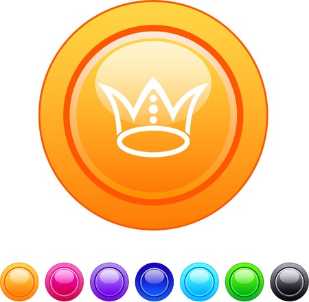 Crown glossy circle web buttons. Stock Vector - 7326408