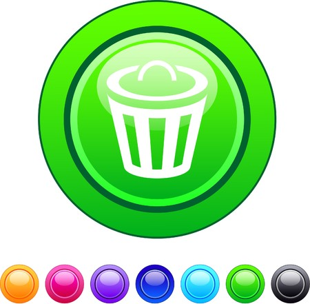 Dustbin glossy circle web buttons.   Vector