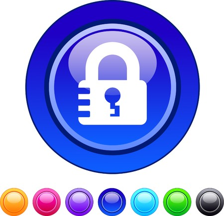 Lock glossy circle web buttons.  Vector
