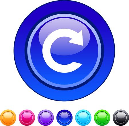 Reload glossy circle web buttons.   Vector