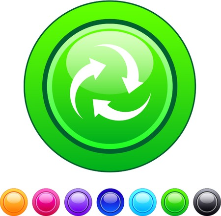 Recycle glossy circle web buttons.  Vector