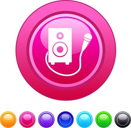 Karaoke glossy circle web buttons.   Vector