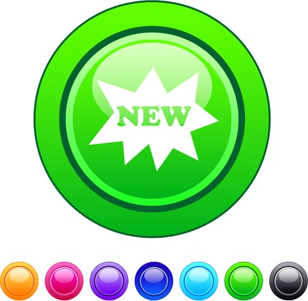 New glossy circle web buttons.  Vector