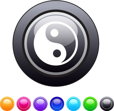 Ying yang glossy circle web buttons.  Vector