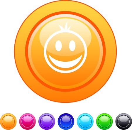 Smiley glossy circle web buttons.   Vector