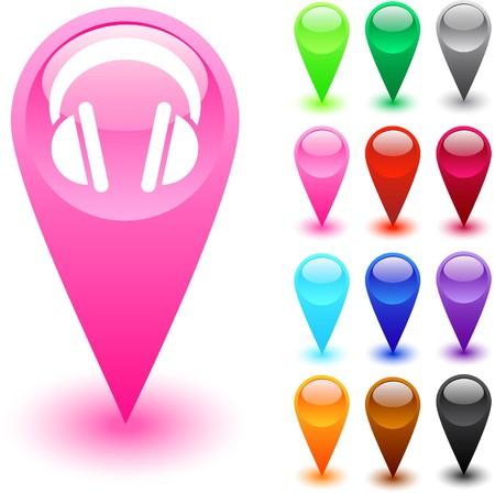 broun: Headphones glossy web buttons.